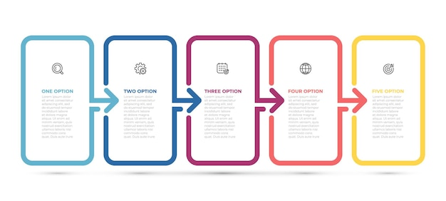 Biznes plansza cienka linia strzałki projekt etykiety z ikonami