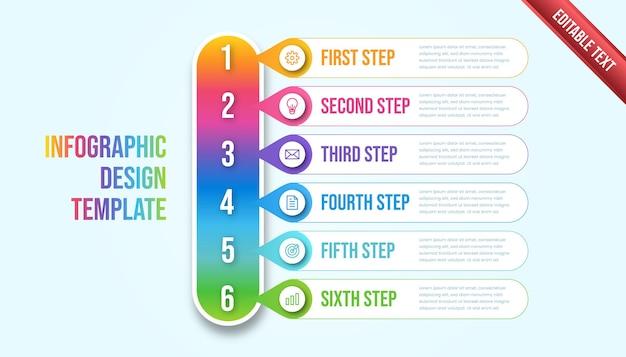 Biznes plansza sześć kroków. kolorowy nowoczesny szablon infografikę osi czasu.