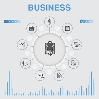 Biznes plansza z ikonami. zawiera takie ikony jak biznesmen, teczka, kalendarz, wykres