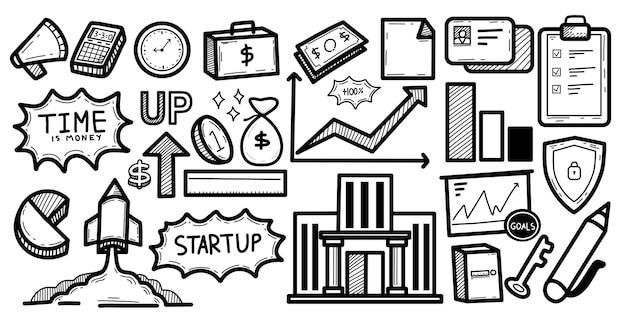 Biznes planuje internet e-commerce doodle ilustrację
