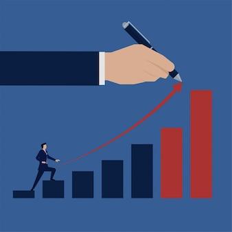 Biznes płaski biznesmen wspiąć się na wzrost wykresu słupkowego.