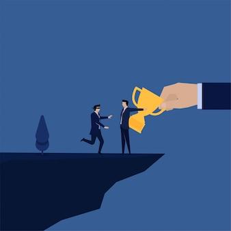 Biznes płaski wektor koncepcja niewidomy pracownik biegnie do klifu kierowane przez kierownika z metaforą trofeum oszustwa i pułapki.