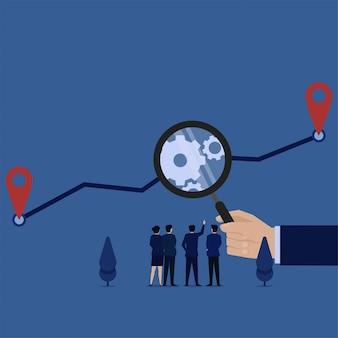 Biznes płaski wektor koncepcja ręka trzymać powiększyć, aby skalować metaforę wykresu analizy procesu.