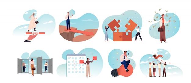 Biznes, pomysł, uruchomienie, osiągnięcie celu, sukces, świętowanie, planowanie, coworking, koncepcja zestawu pracy zespołowej.