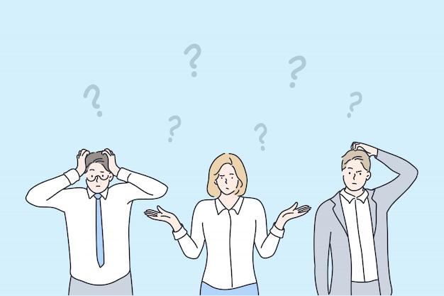 Biznes, problem, pytanie, myślenie, burza mózgów zestaw koncepcji