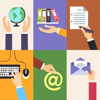 Biznes ręce gesty projektowania elementów gospodarstwa globu folderu półka podpisać dokument na białym tle ilustracji wektorowych