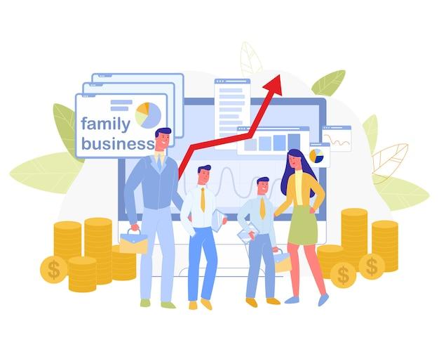 Biznes rodzinny. wykres analizy danych, informacje,