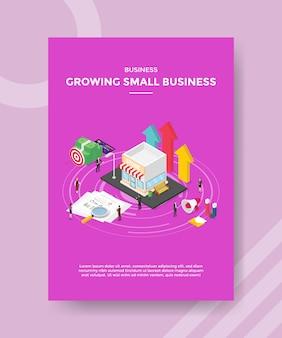 Biznes rośnie małych ludzi biznesu stojących wokół pieniędzy papierowych wykresów sklepu