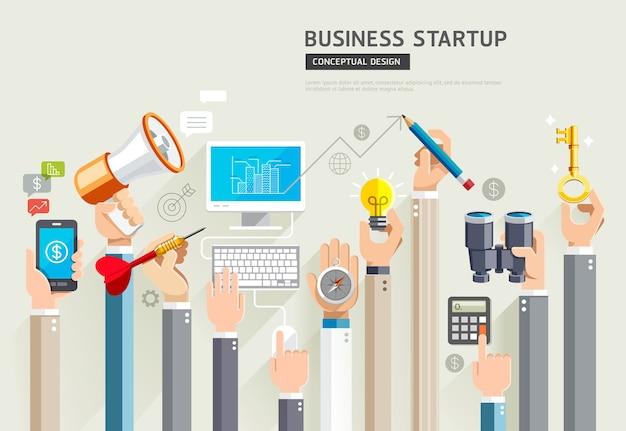 Biznes rozpoczyna projekt koncepcyjny. zestaw usług biznesowych rąk.