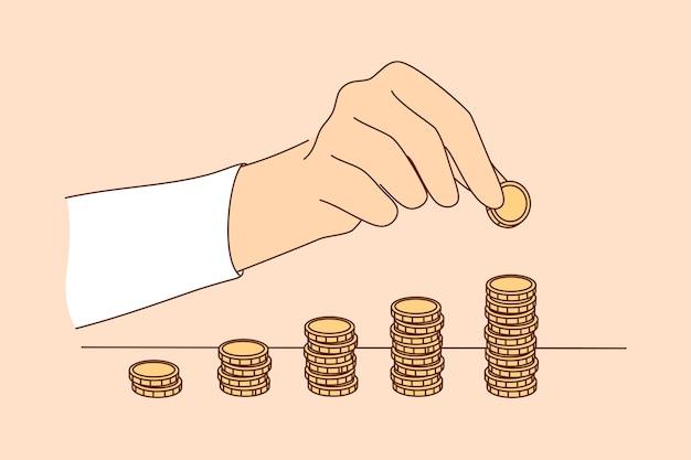 Biznes start-sukces, osiągnięcie celu, osiągnięcie dochodu z bogactwa