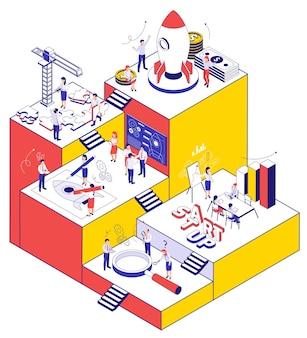 Biznes startowy kolor tła z aktywnymi ludźmi szukającymi puzzli lupy i ilustracji izometrycznych ikon kół zębatych