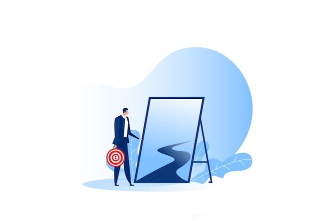 Biznes stojący na zewnątrz do nowej podróży do możliwości koncepcji celu