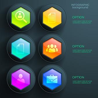 Biznes streszczenie infografiki z sześcioma kolorowymi błyszczącymi sześciokątnymi elementami i ikonami