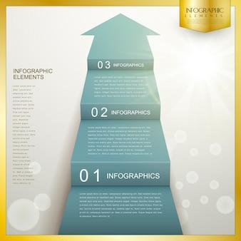 Biznes strzałka krok schody infografika szablon projektu