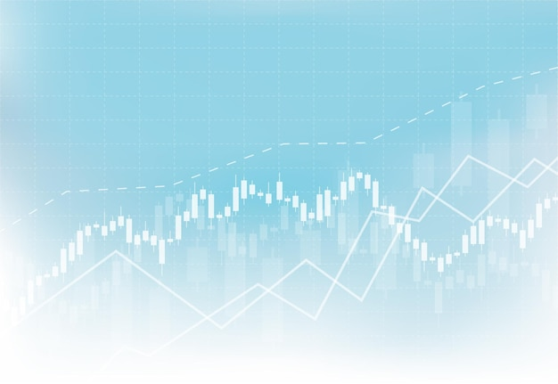 Biznes świeca kij wykres wykres inwestycji giełdowych na białym tle projektu. byczy punkt, trend wykresu. ilustracja wektorowa