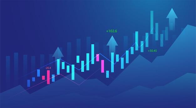 Biznes świeca kij wykres wykres inwestycji giełdowych na niebieskim tle. byczy punkt, trend wzrostowy wykresu. projekt wektor gospodarki.