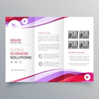 Biznes trifold projekt broszury z kolorowym kształcie fali