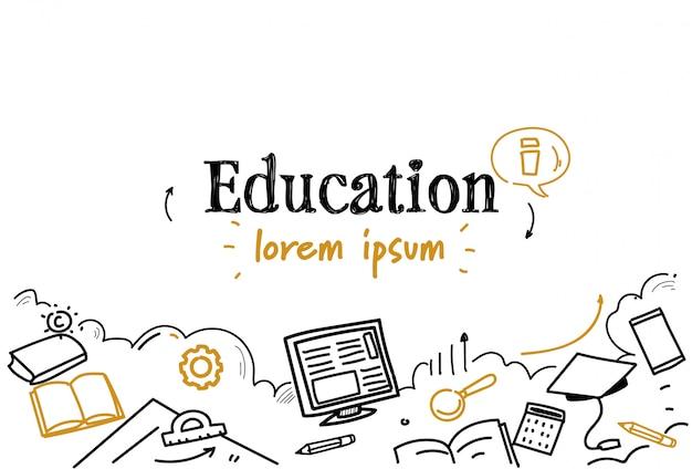 Biznes uczenia się wiedzy edukacji szkic doodle na białym tle miejsce