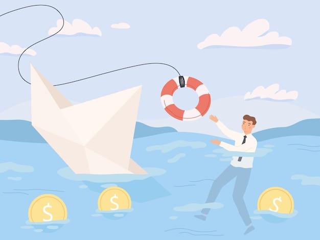 Biznes upadłościowy. ratowanie finansowe, pogrążanie biznesu w kryzysie i zagrożeniach gospodarczych. ilustracja wektorowa problemy spłaty pożyczki gospodarki recesji. kryzys i upadłość, pomoc finansowa i ratownictwo