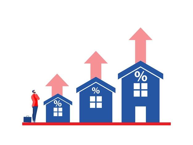 Biznes w nieruchomościach lub cenach mieszkań rośnie w górę wektor koncepcji