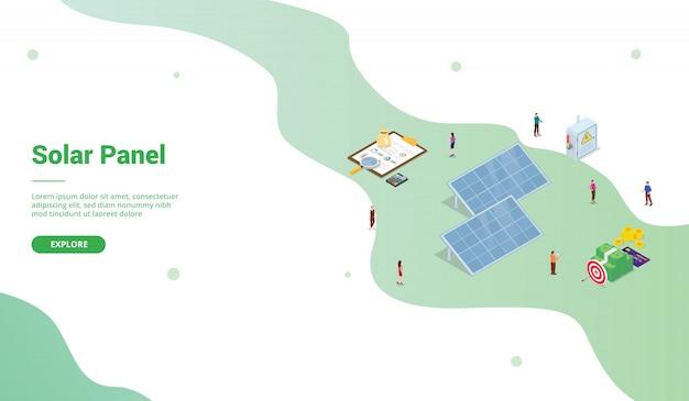 Biznes w technologii paneli słonecznych dla szablonu strony internetowej lub strony docelowej w stylu izometrycznym