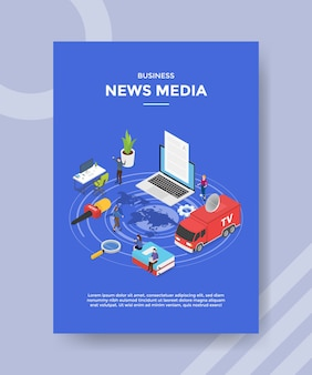 Biznes wiadomości media peopleon mapa świata wokół komputera laptop mikrofon książka tv raport samochód