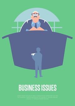 Biznes wystawia pouczający szablon plakat z wielkim szefem