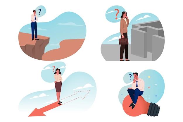 Biznes, wyszukiwanie, pomysł, burza mózgów, koncepcja zestawu myślenia. zbiór kobiet biznesmenów, którzy planują rozwiązywanie złożonych zadań i wybierają możliwość rozwiązania. decyzja dotycząca strategii analizy planowania