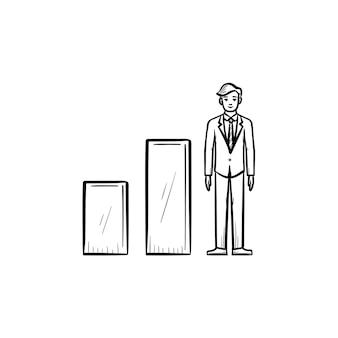 Biznes wzrost ręcznie rysowane zarys doodle wektor ikona. biznes ilustracja szkic do druku, sieci web, mobile i infografiki na białym tle.