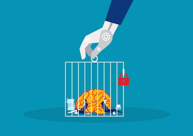 Biznes z dużym mózgiem ciężko pracujący w cagevector