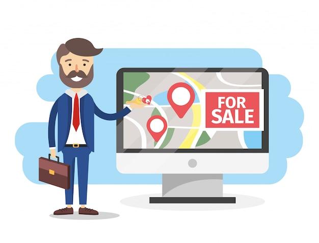 Biznes z mapą nieruchomości sprzedaży komputera
