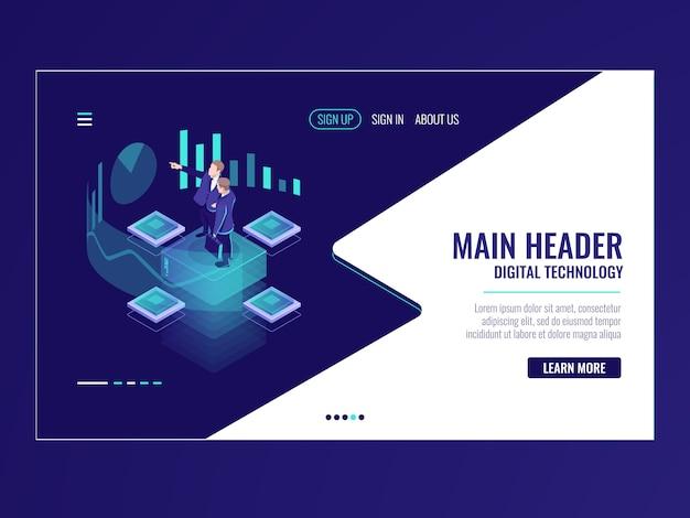 Biznes zautomatyzowany system analityczny izometryczny ikona, biznesmen trzymać spotkanie