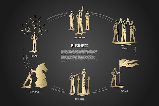 Biznes, zespół, cele, strategia, pomysły, infografika przywództwa