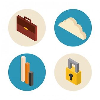 Biznes zestaw ikon izometrii