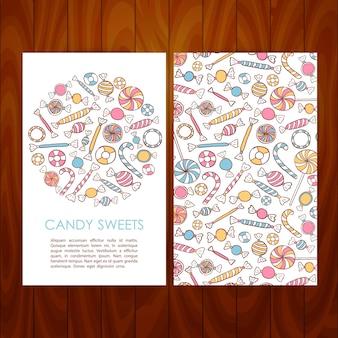 Biznes zestaw szablonów z ręcznie rysowane cukierki słodycze. ilustracja wektorowa tożsamości marki dla promocji restauracji deserowej i kawiarni nad drewnianą teksturą