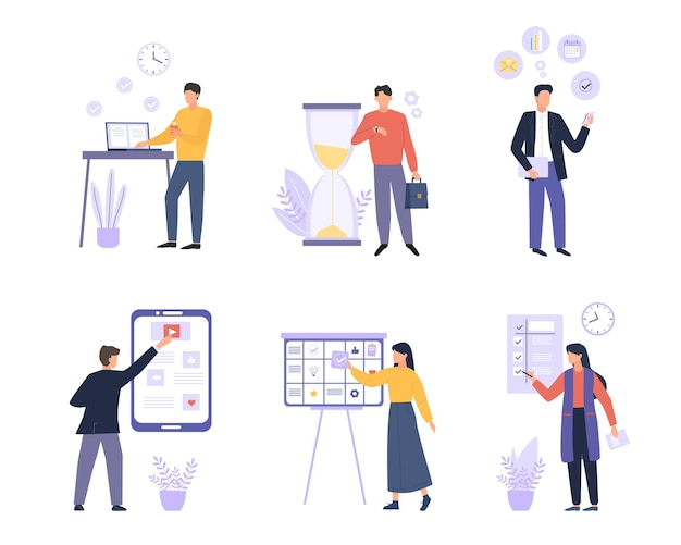 Biznes zorganizował kolorowy płaski zestaw ludzi. zarządzanie czasem, planowanie, harmonogramowanie i organizacja zadań zwiększają produktywność. pracownicy biurowi, pracownicy postaci z kreskówek