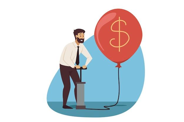 Biznes, zysk, wydobywanie waluty.