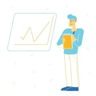 Biznesman stojący w pobliżu tablicy z wykresem wzrostu, robiąc notatki