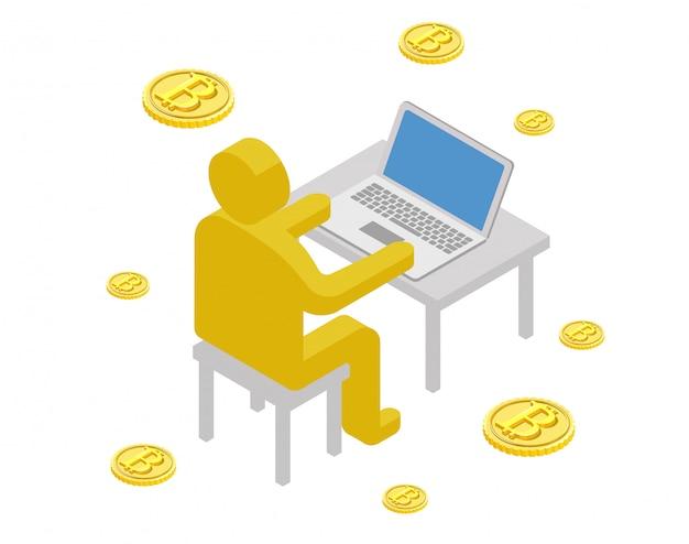 Biznesmen abstact rysunek wydobycie bitcoin