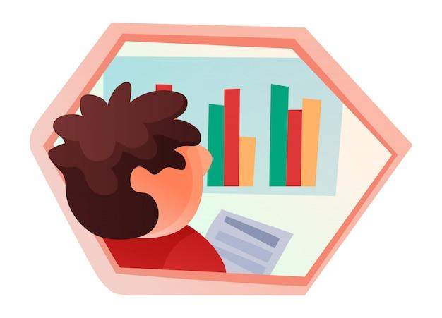 Biznesmen analizuje wykres, analizę danych, koordynację danych, dane z badań pracowników, płaski styl