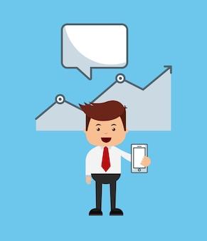 Biznesmen avatar z bussines płaskie ikony