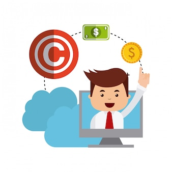 Biznesmen avatar z koncepcją praw autorskich
