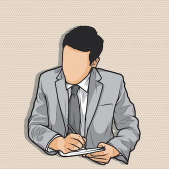 Biznesmen bez twarzy pisania za pomocą pióra na swoim notebooku