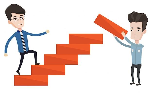 Biznesmen biega na piętrze ilustracyjnym.