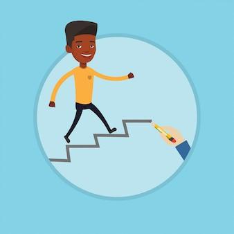 Biznesmen biega na piętrze wektorową ilustrację.