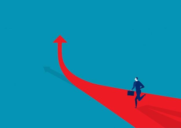 Biznesmen biega na strzałkowatej czerwonej ilustraci