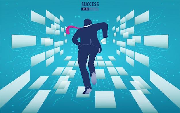 Biznesmen biega w przyszłość. wykorzystaj okazję. tło wektor ilustracja