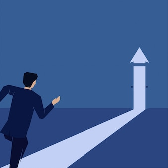 Biznesmen biegać do otwierania drzwi zrobić strzałkę rosną metafora sukcesu i wzrostu.