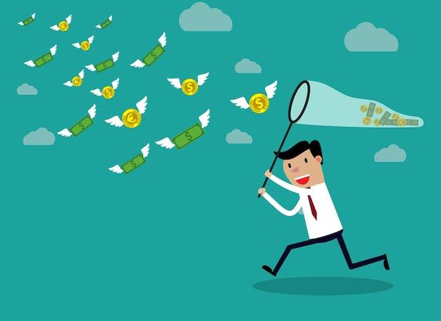 Biznesmen biegający z pieniędzmi motyla