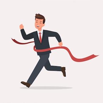 Biznesmen biegnie do zestawu znaków linii mety